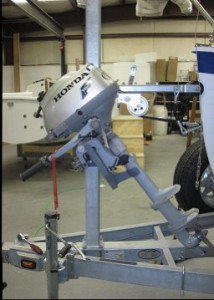 Honda 2HP outboard on the Sage Marine Trailer Motor Mount.