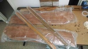 rudders and tiller received from JO Woodworks.