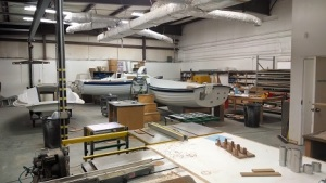 Two Sage 17s being assembled and regatta trophies being made.