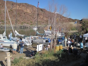 Trailer sailors get together in Steamboat Cove on Lake Havasu, Arizona.