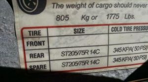 This trailer frame tag shows the maximum cargo (ie, boat) weight the tires can accommodate.