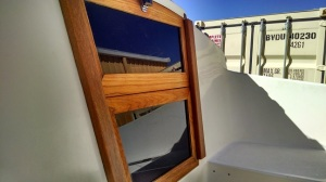 Companionway after applying teak oil.