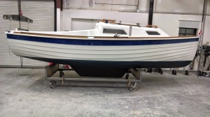A Sage 17 bottom painted with Sea Hawk Cukote.