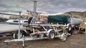 Three deluxe Sage 17 trailers stacked for transportation.