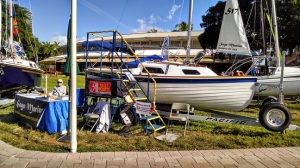 The boat on display at Strictly Sail Miami.