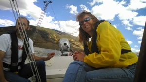 Friends Gary & Nancy, both weather PFDs, sailing with me on AIR BORN on Lake Dillon, Colorado.