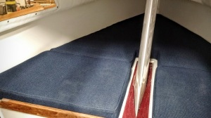 """Sage 15's large v-berth. 3"""" deep cushions are standard ... you choose the color."""