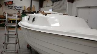 Sage 15 sloop deck in place. Note the nice windows.