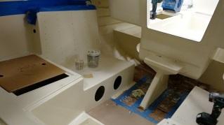 Interior of a Sage 17 prior to teak installation.