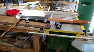 Completed Sage 17 rudder/tiller assembly. The rudder kicks up automatically, or with up/down movement of the tiller.